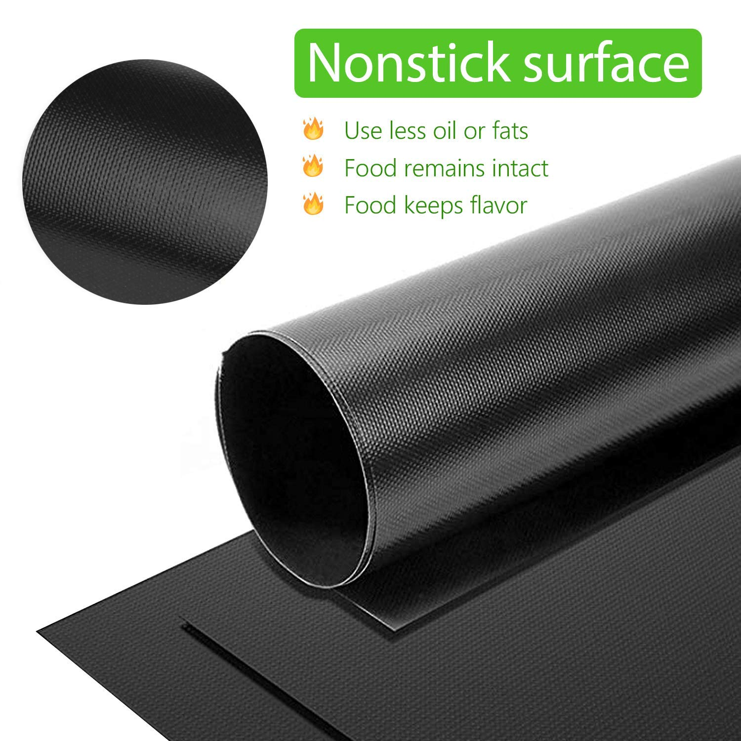 BBQ Grill Mat, Non Stick Reusable Barbecue Grill Mat Heat Resistant Heavy Duty Barbeque Grilling Sheets Work on Gas Charcoal Electric Grill, FDA Approved, Easy to Clean, Set of 5 Black 15.75