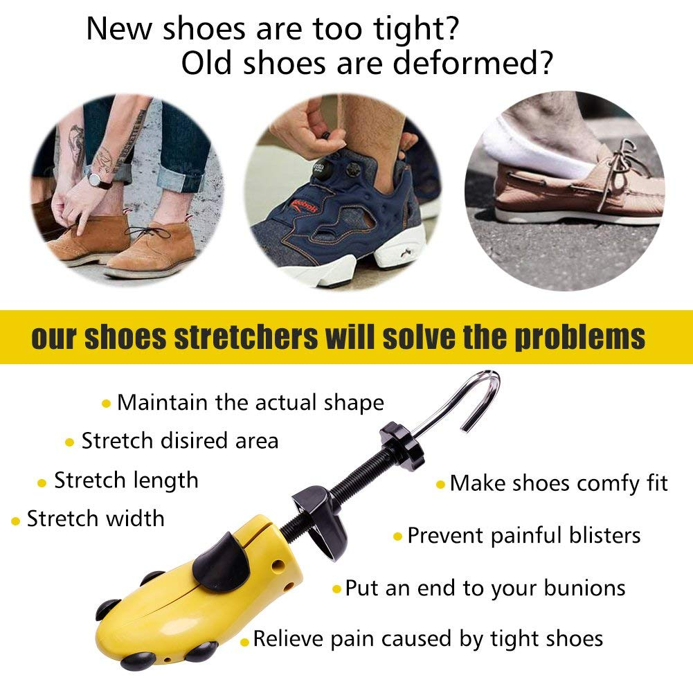 Shoe Stretcher Men Shoe Tree Widener, Pair of 4-way Adjustable Shoe Expanders Stretch Length Width Height, Tough Plastic & Metal, 8 Bunion Plugs Included, Yellow for Men's Shoes Size US 9.5-13