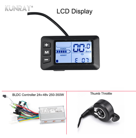 Kunray ebike controller 48 v lcd and controller speed display for motors without brush 24 v 36 350 w kits conversion cycle tm