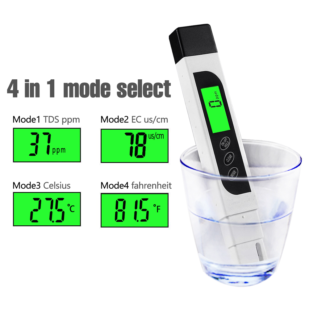 TDS Meter Digital Water Tester with Backlit LCD, Accurate Professional TDS EC Temperature Test Pen for Drinking Water Quality, Hydroponics, Swimming Pools, Aquariums, 0-9990 ppm, ± 2% Accuracy